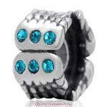 Wings Charm Sterling Silver Beads with Blue Zircon Austrian Crystal