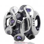 Twist Charm Sterling Silver Beads with Tanzanite Austrian Crystal
