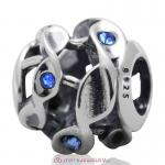 Twist Charm Sterling Silver Beads with Sapphire Austrian Crystal