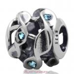 Twist Charm Sterling Silver Beads with Aquamarine Austrian Crystal