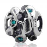Twist Charm Sterling Silver Beads with Blue Zircon Austrian Crystal