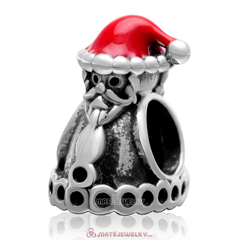 Santa Claus with Christmas Hat 925 Sterling Silver Charm Bead with Red Enamel