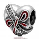 Love Token Heart Charm Antique 925 Sterling Silver Zircon Stone Bead