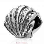 Delicate Shell Charm 925 Sterling Silver with Zircon Stone Bead