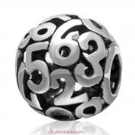 0 to 9 Number Combination Charm 925 Sterling Silver Bead European Style