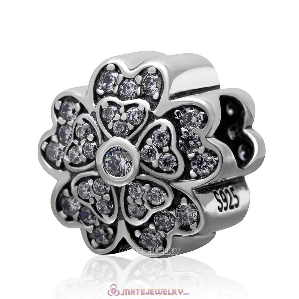 Sparkling 925 Sterling Silver Primrose Love with Clear Stone Bead