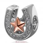 Rose Gold Lucky Star 925 Sterling Silver Horseshoe Charm with Clear Stone
