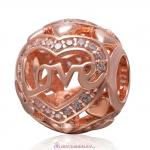 Rose Gold Love Charm 925 Sterling Silver Clear Stone Bead