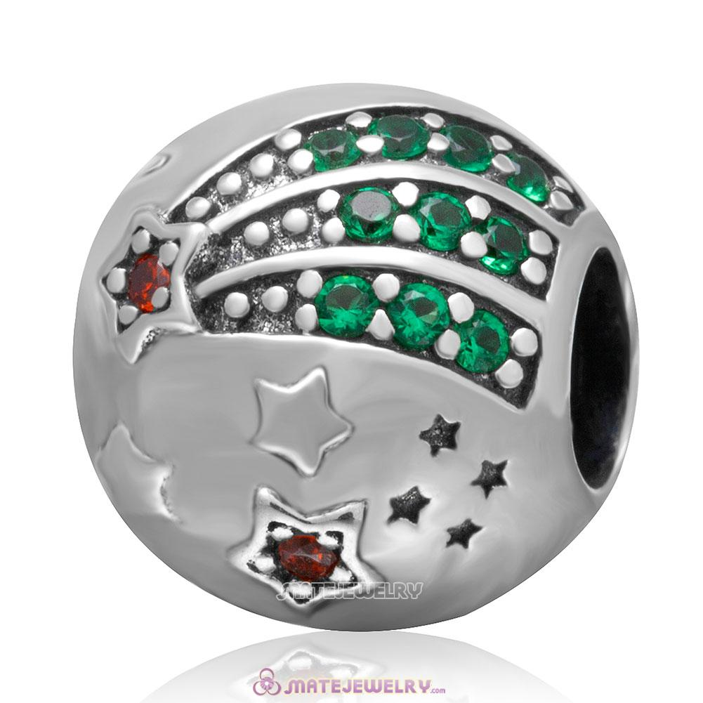 Shining Star Charm 925 Sterling Silver Colorful Stone Bead
