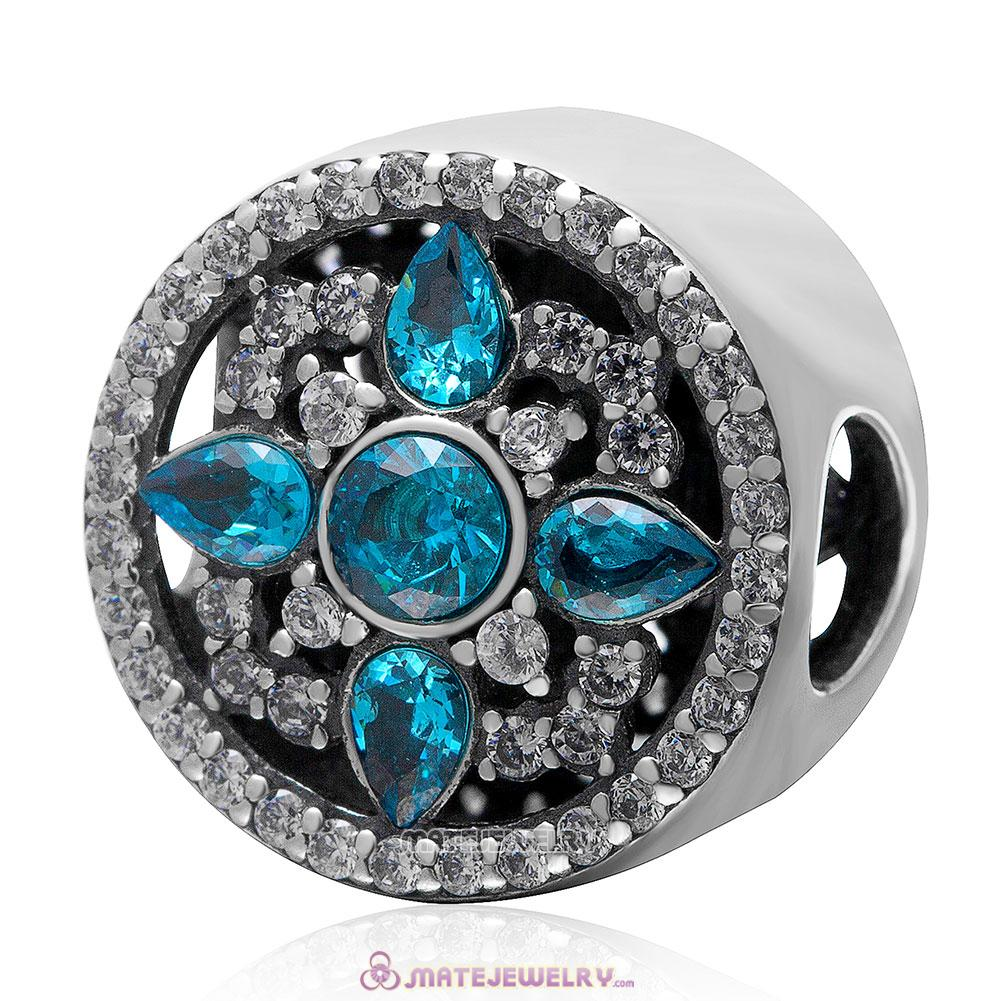 Shimmering Blue Cz 925 Sterling Silver Charm Bead