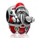 Santa Carry with Gift Charm 925 Sterling Silver Red Enamel Bead with Colorful Crystal