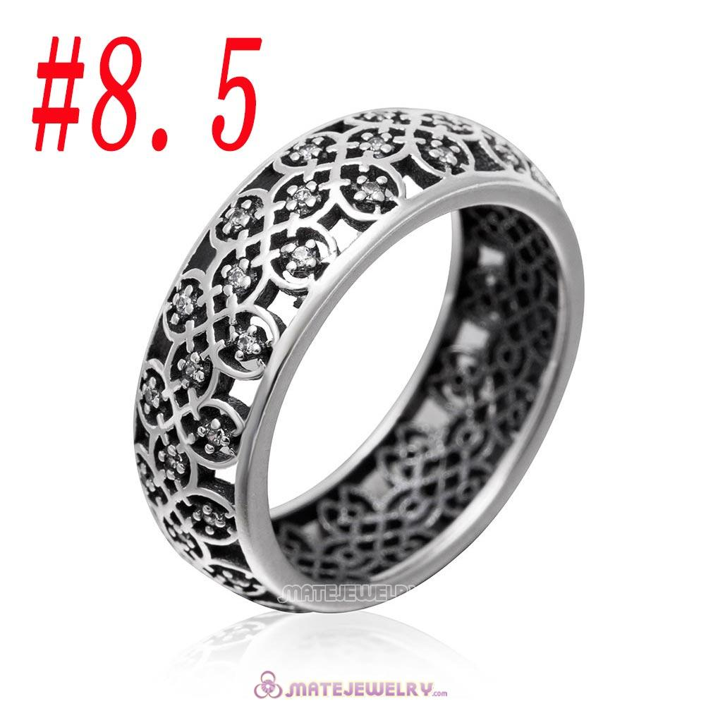 Intricate Lattice Ring Sterling Silver with Clear CZ