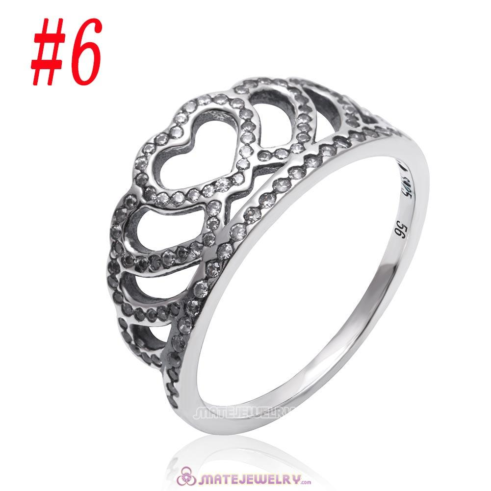 Hearts Tiara Ring Sterling Silver with Clear CZ