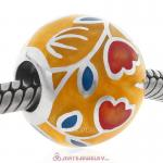 Tulip Charms Sterling Silver Round Enamel Beads