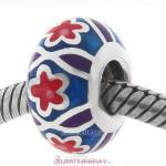 Red Star Charm Sterling Silver Round Beads with Enamel
