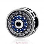 Blue Watchful Eye Charm Bead with Blue CZ
