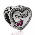 Friend Heart Charm with Fuchsia CZ