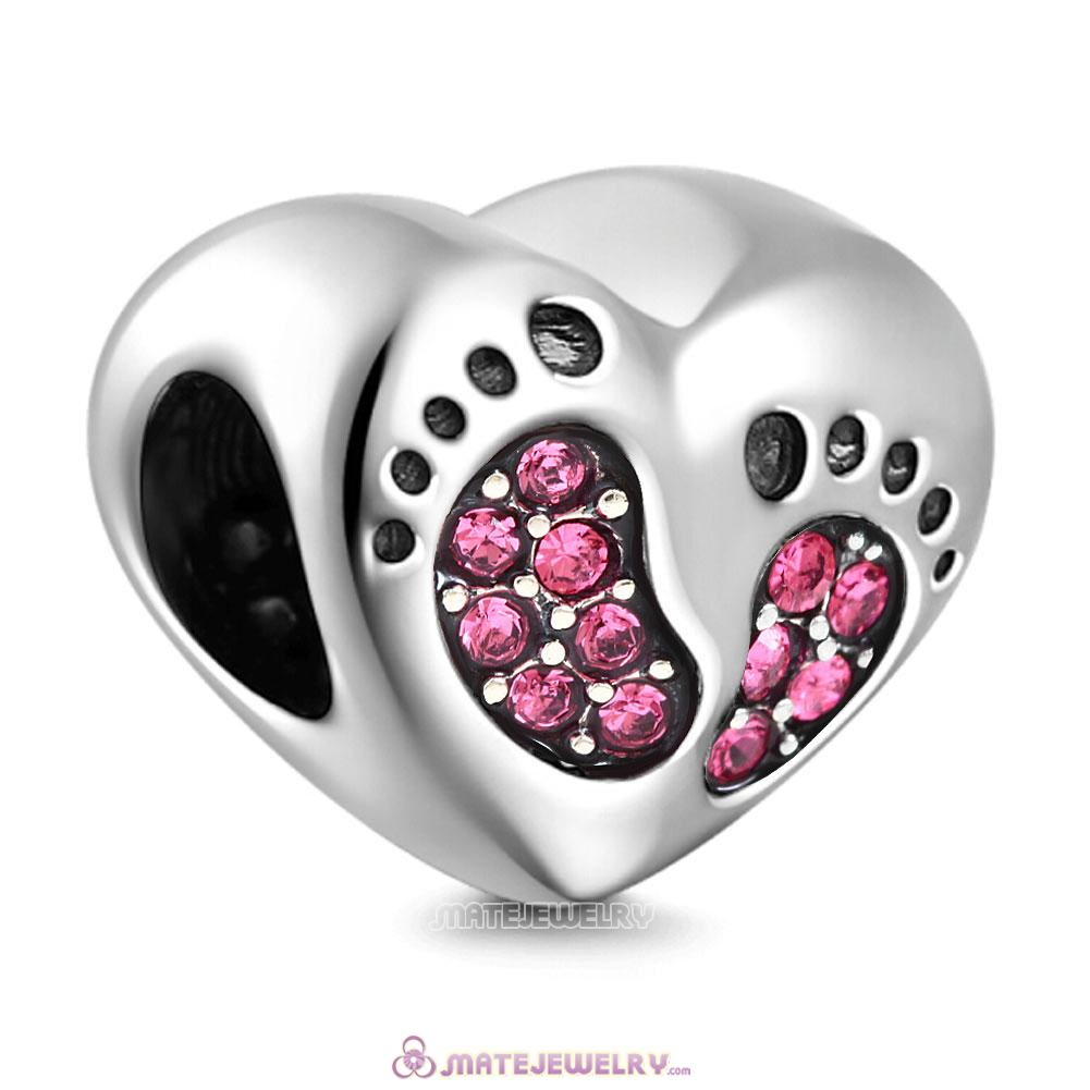 Rose Crystal Baby Footprint Heart Charms Beads