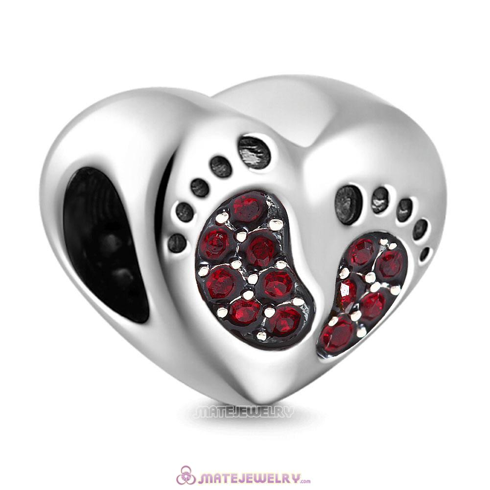 Siam Crystal Baby Footprint Heart Charms Beads