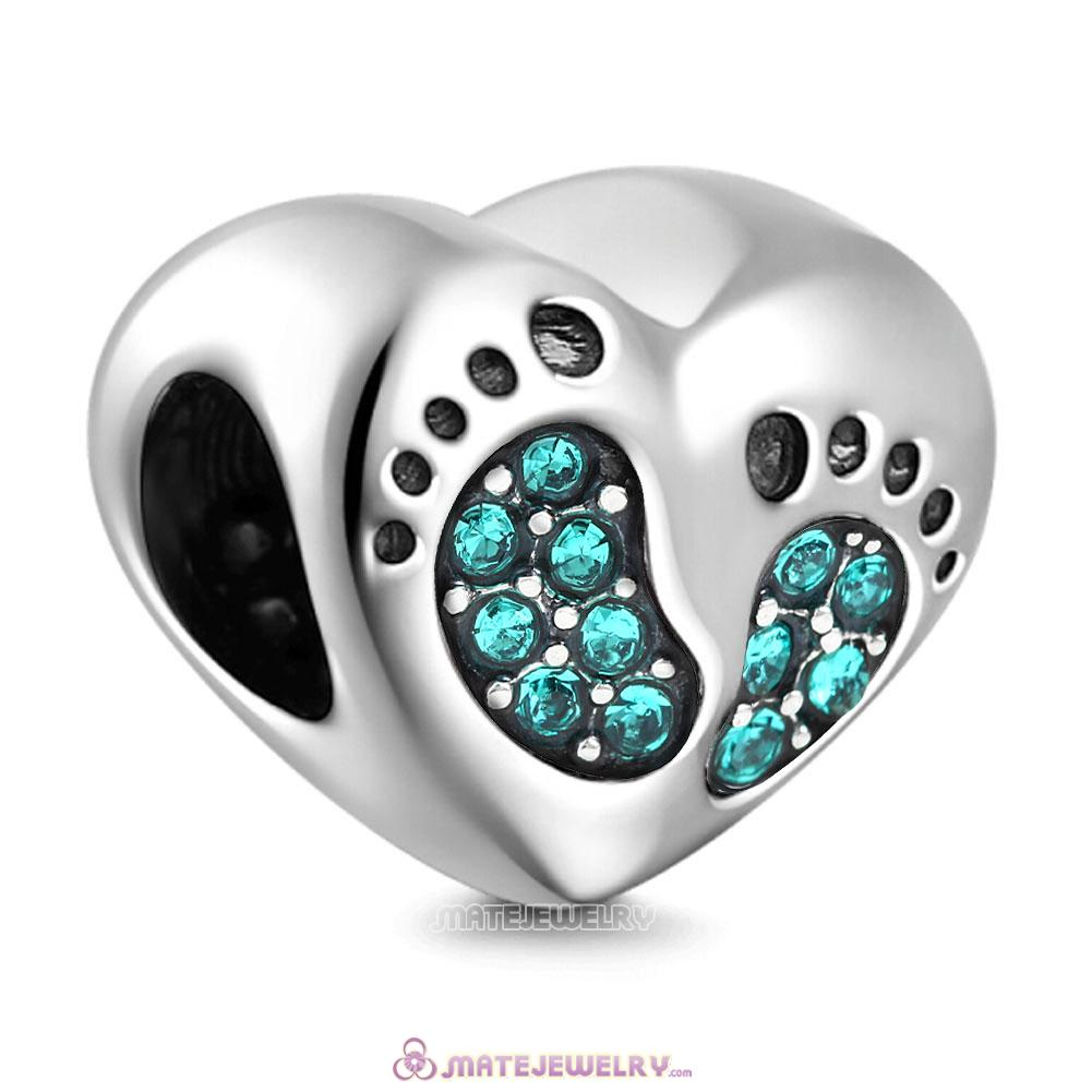 Blue Zircon Crystal Baby Footprint Heart Charms Beads