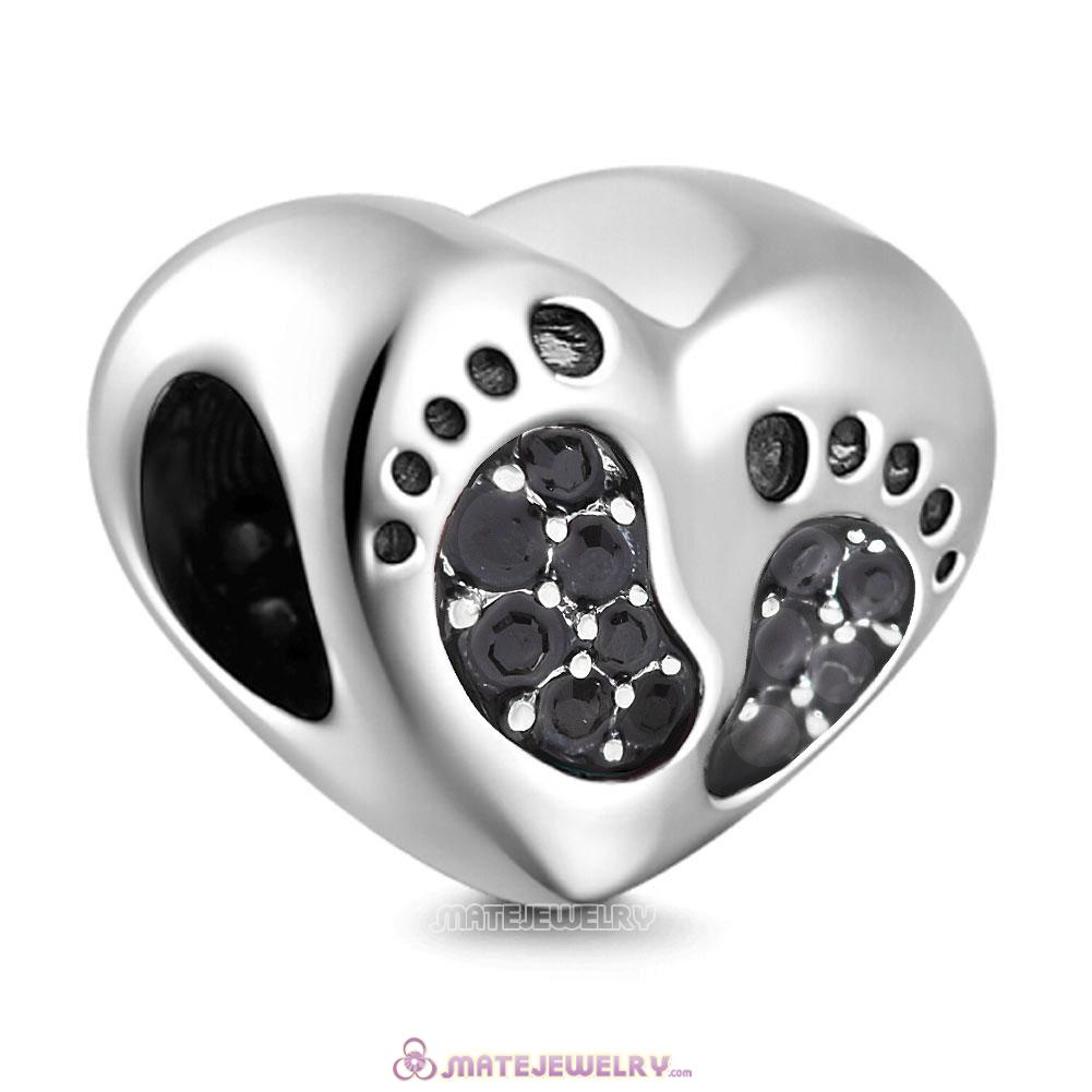 Jet Crystal Baby Footprint Heart Charms Beads