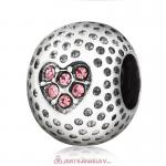 Pink Crystal Golf Ball Charm Beads