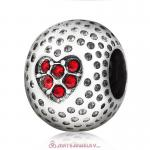 Red Crystal Golf Ball Charm Beads