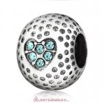 Aquamarine Crystal Golf Ball Charm Beads