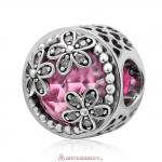 Dazzling Daisy Meadow Pink Faceted Crystal Charm