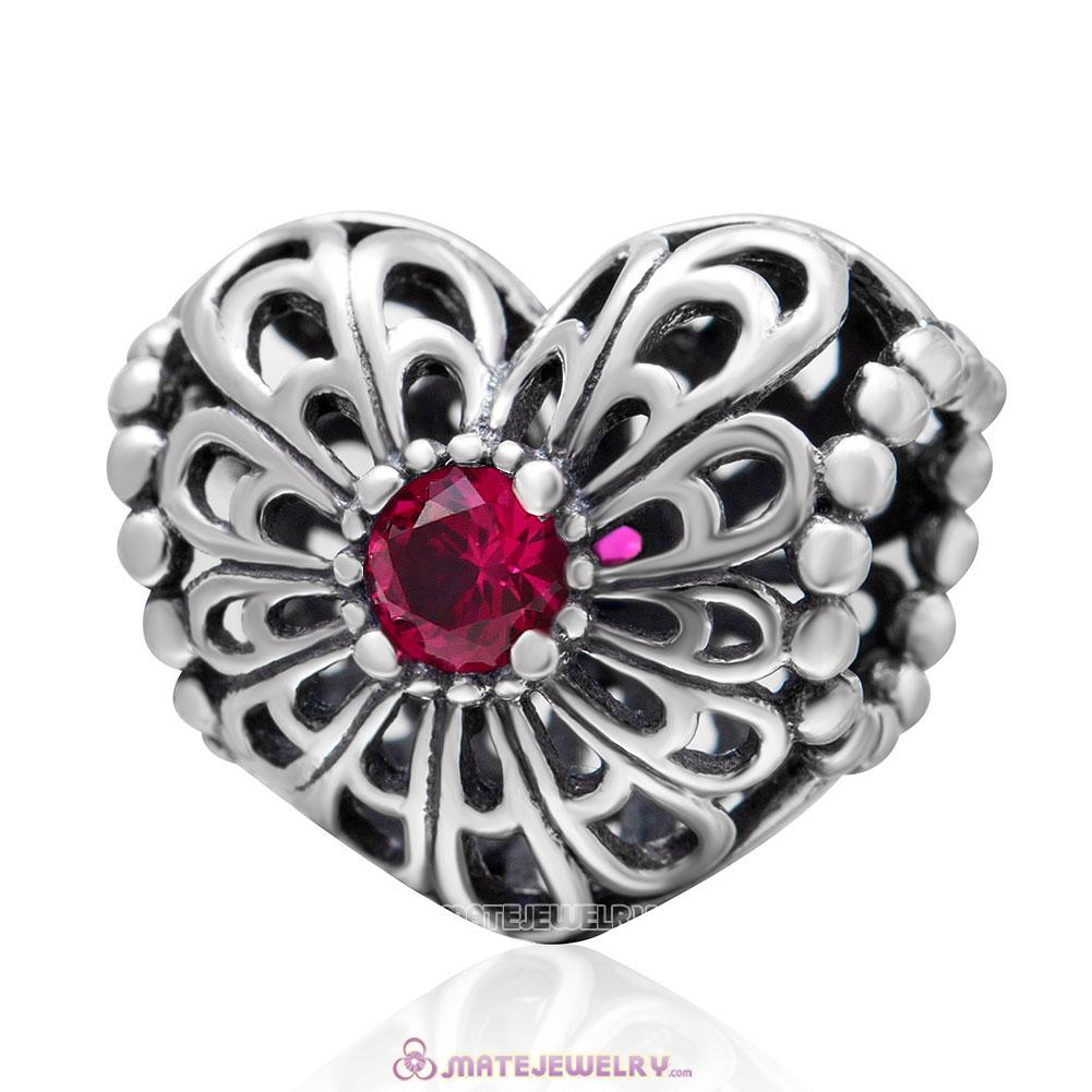 Open your Heart Charm with Fuchsia Stone