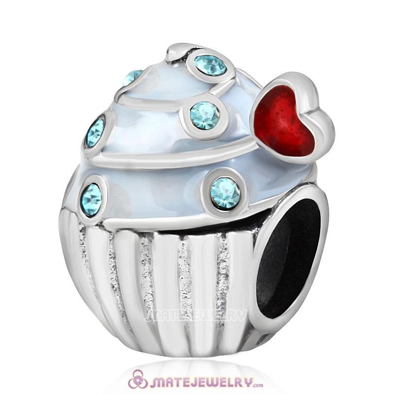Sweet Cupcake Charm Sterling Silver Bead with Aquamarine Austrian Crystal