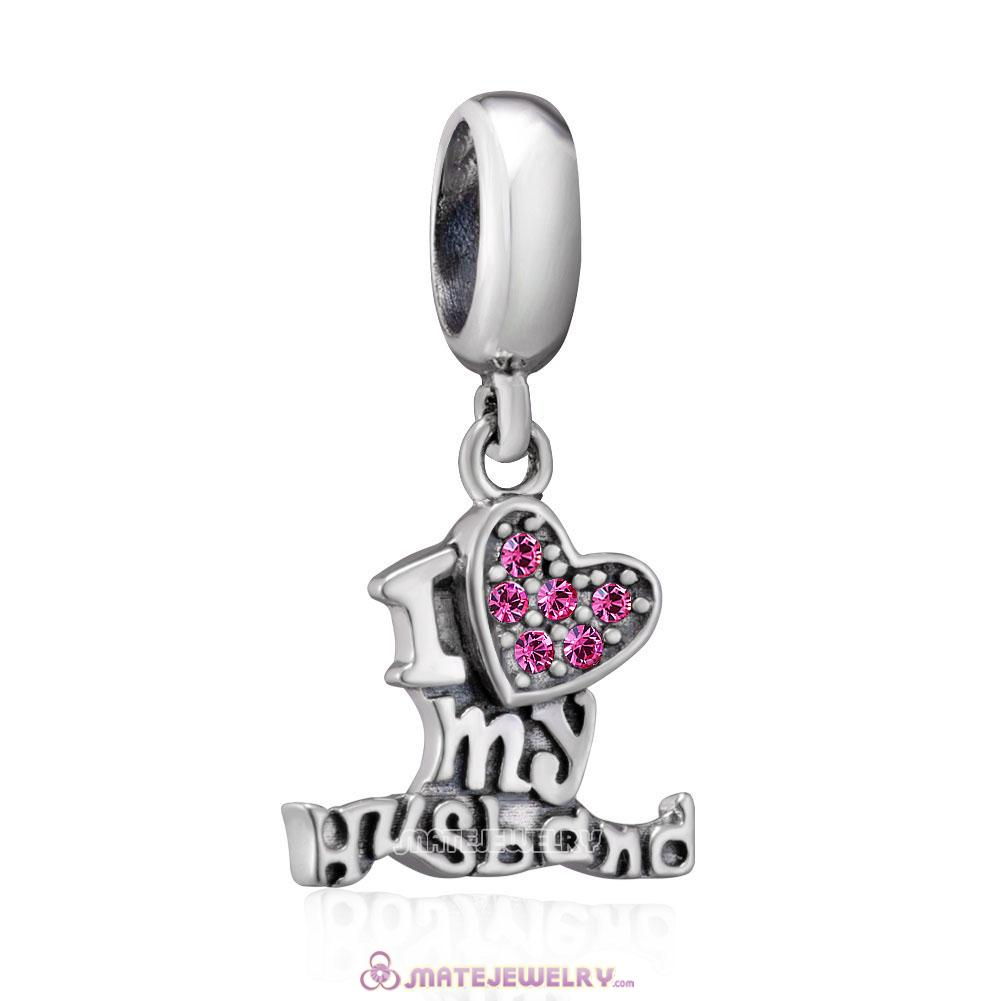 925 Sterling Silver I Love my Husband Charms with Rose Crystal