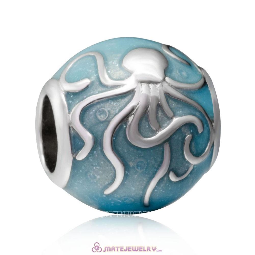 925 Sterling Silver Blue Ocean Octopus Charms Beads