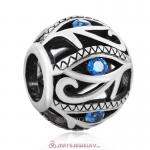 Evil Eye Charm 925 Sterling Silver Bead with Lt Sapphire Stones