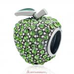 Sweet Sparkling Apple Charm with Green Crystal