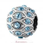 Pave Evil Eye Charm with Sparkling Aquamarine Crystal