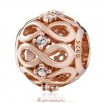 925 Sterling Silver Rose Gold Infinity Shine Charm with White Zirconia