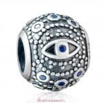 925 Sterling Silver Evil Eye Charm with Blue Zirconia