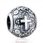 925 Sterling Silver Saint Cross Charm with White Zirconia