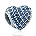 925 Sterling Silver Pave Heart Charm with Blue Zirconia