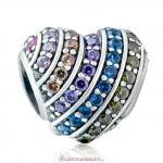 925 Sterling Silver Pave Heart Charm with Colorful Zirconia