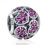 925 Sterling Silver Trumbling Heart Charm with Fuchsia Zirconia