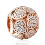 925 Rose Gold Sterling Silver Trumbling Heart Charm with White Zirconia