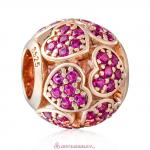 925 Rose Gold Sterling Silver Trumbling Heart Charm with Fuchsia Zirconia