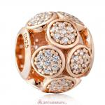 925 Sterling Silver Rose Gold Whimsical Lights Charm with White Zircon