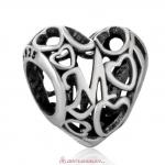 Openwork Heart Mom Charm Beads Antique Style