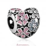 Poetic Blooms Flower Heart with Enamel and Clear CZ Charm